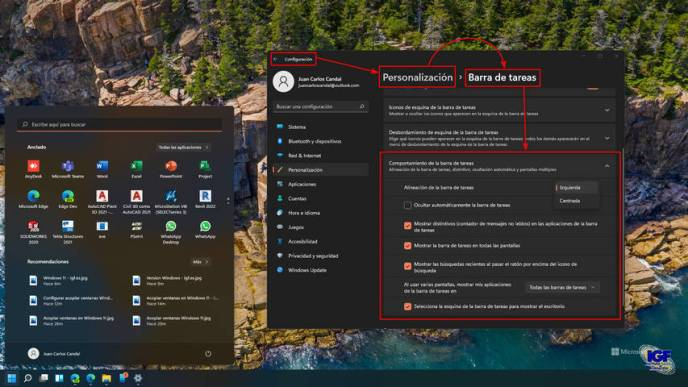 Configurar la barra de tareas en Windows 11 pro - igf.es