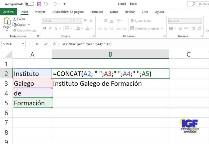 Función CONCAT de Excel 2019 - igf.es