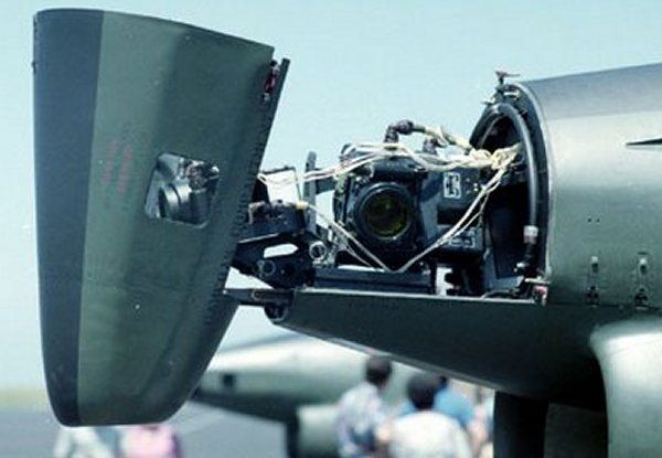 3 of the 4 Vinten recon cameras on the Fiat G.91R. The 4th is on the bottom of the plane.