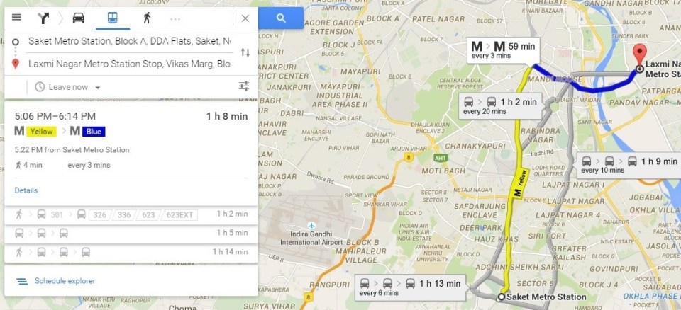 Route Planner - Find live public transit and Estimated time travel with Google Map