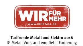 Metall-Tarifrunde 2016: Vorstand empfiehlt Forderung