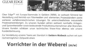 Stellenausschreibungen Clear Edge-Germany: Vorrichter in der Weberei