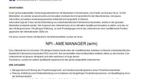 Jobbörse: NPI – AME MANAGER (w/m) gesucht