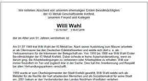 Ein Besuch bei Willi Wahl …wie er vielleicht verlaufen wäre…