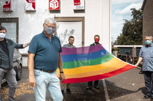 Kreis Klever DGB Gewerkschaften zeigen (Regenbogen)Flagge