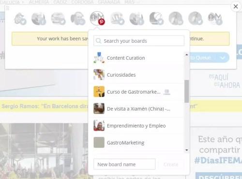 Establecer las secciones de los tableros de Pinterest - Social Media