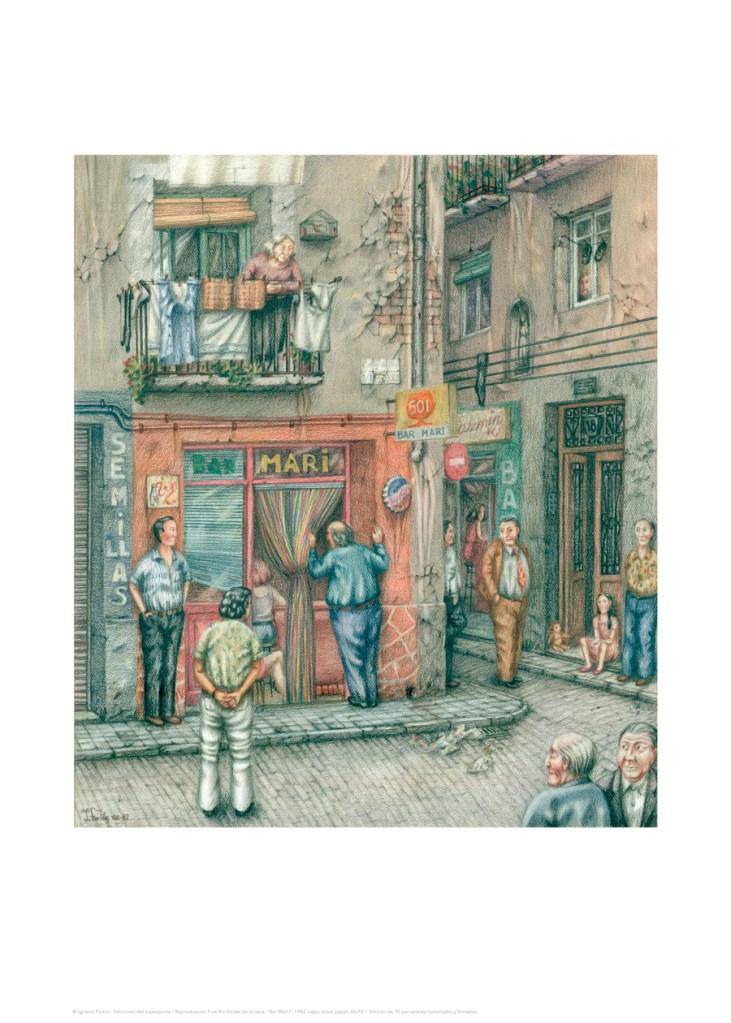 """""""Bar Mari I"""", 1982. Lápiz sobre papel, 60x50 cm"""