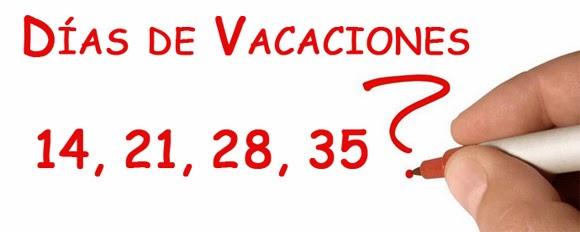 Calculadora de días de vacaciones ¿14, 21, 28, 35 ó 1 día cada 20 trabajados? Cuántos días de vacaciones me corresponden según la ley?