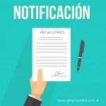 Modelo de notificación de comienzo de vacaciones