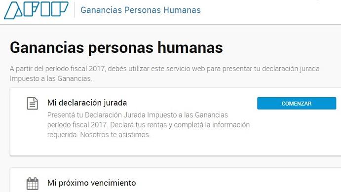 Ganancias web Personas humanas AFIP