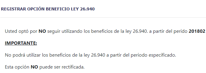 opcion beneficio ley 26940 afip cambio