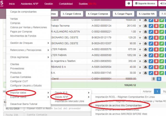 SOS Contador incorporó la posibilidad de importar los respectivos archivos, facilitando de esta manera la tarea de ingreso de datos para aquellos clientes que no poseen estructura administrativa.