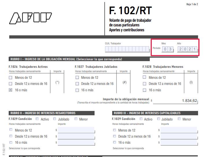 F-102RT Servicio Domestico Formulario Vigente desde Marzo 2021