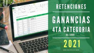 Actualización de la Planilla para el cálculo de retenciones del impuesto a las ganancias de cuarta categoría versión 2021. Modificaciones RG 5008.