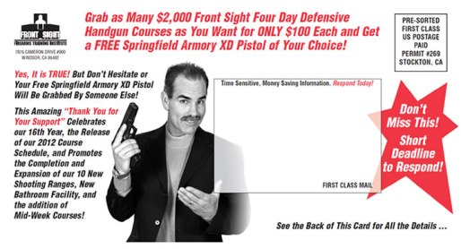 Grab as Many $2,000 Front Sight Four Day Defensive Handgun Courses as You Want for ONLY $100 Each and Get a FREE Springfield Armory XD Pistol of Your Choice!