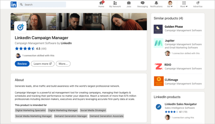 LinkedIn Product Page example. Source: LinkedIn