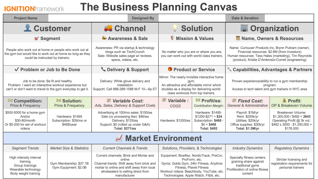 Business Planning Canvas Completely Filled Out - Mirror