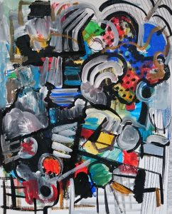 Abstract Painting, A lot of black and white lines; red blue and grey areas