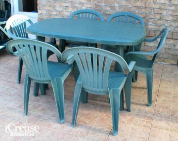 salon de jardin vert grande table et 6 chaises