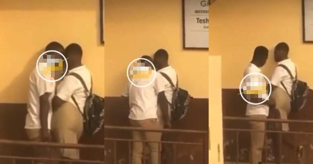 (+VIDEO) Two students of Teshie Anglican JHS caught doing it in broad daylight right after school hours