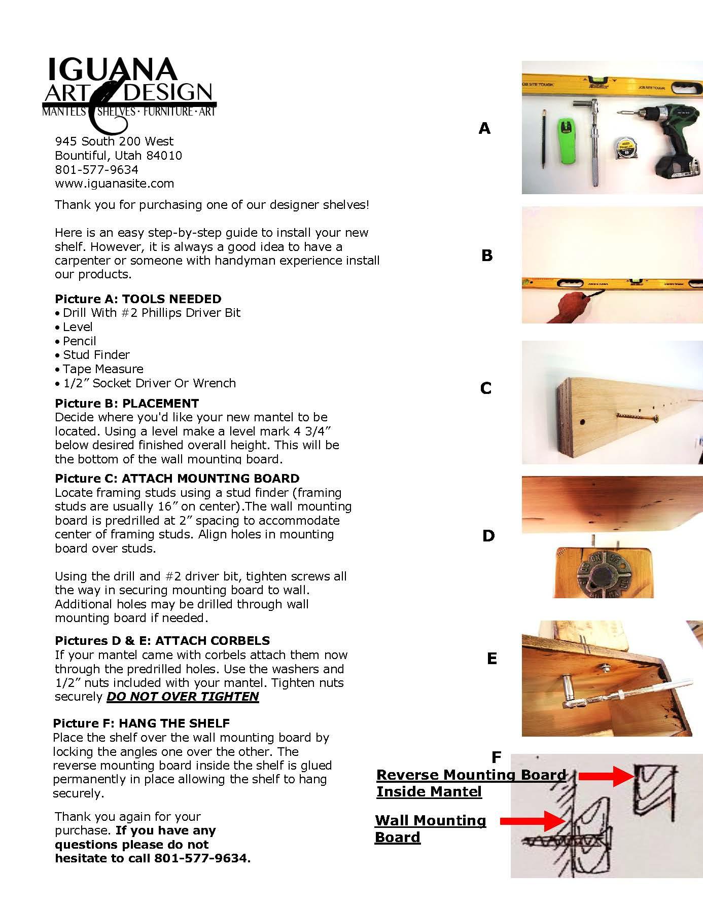 fire place mantel and shelf Installation Sheet