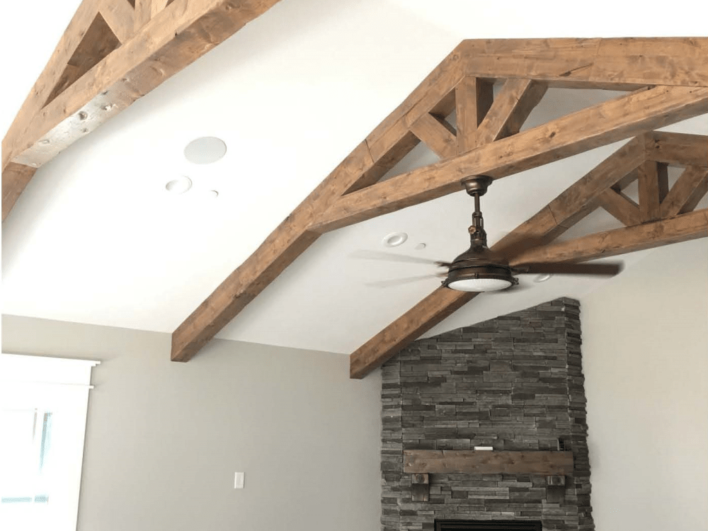Custom Made Fireplace and Trusses