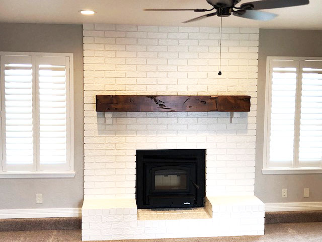 Fireplace Mantel on Painted Brick Fireplace Makeover