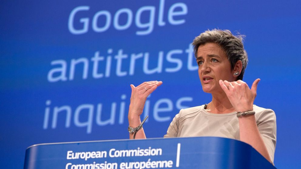 European Union's Competition chief Margrethe Vestager speaks  about Google in a media conference in April, 2015.