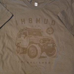 Brown IH8MUD FJ40 logo tee