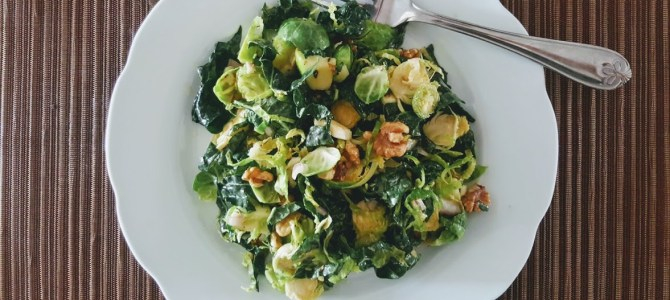 Tangy Kale Brussels Sprout Salad