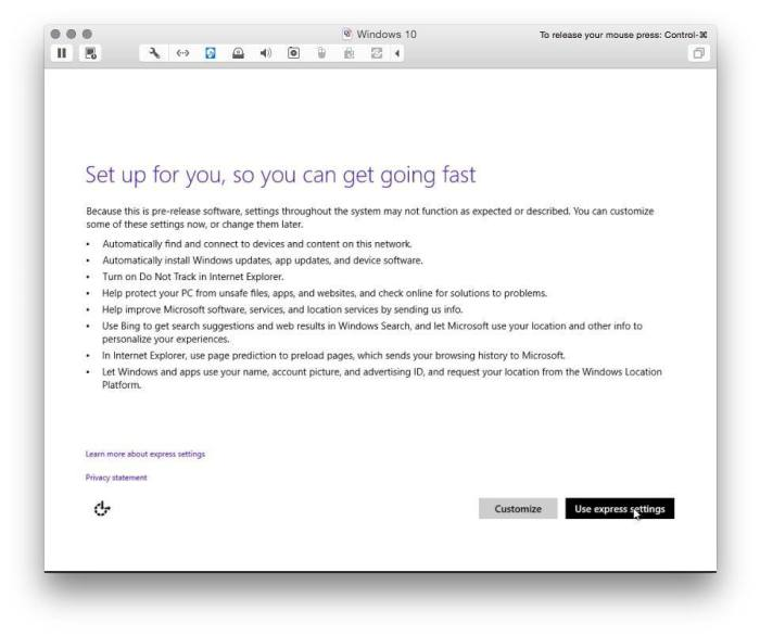 VMware Fusion install windows 10 11