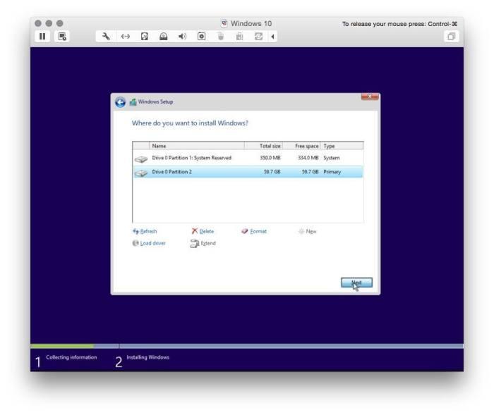 VMware Fusion install windows 10 7