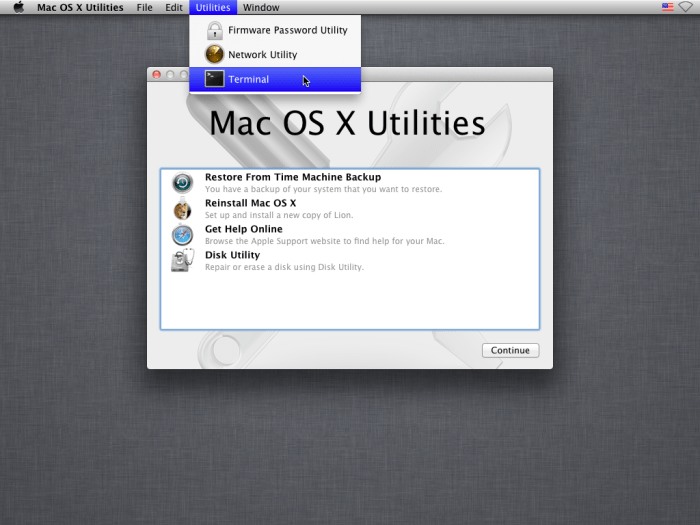 Recovery console os x