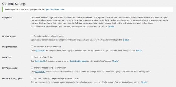 optimus wp plugin settings