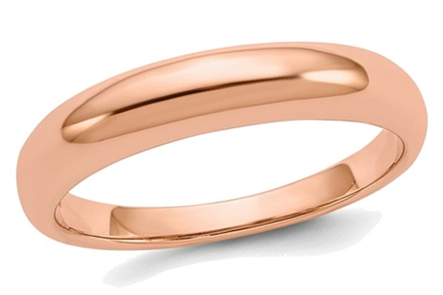 Ladies 14K Rose Pink Gold 3mm Polished Wedding Band – 5 for $295