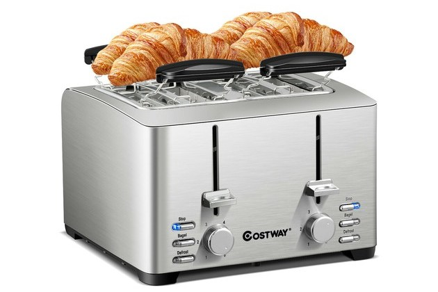 Costway Stainless Steel 4 Slice Toaster Extra-Wide Slot 6 Shade Setting w/ Warming Rack – Silver for $69