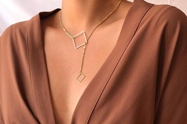 Geometric Square 18K Gold Plated Necklace for $10
