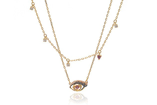 Swarovski New Love Gold Tone Dark Multi-Colored Crystal Necklace (Store-Display Model) for $65