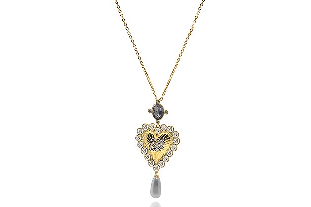 Swarovski Vintage Swan Gold Tone Dark Multi-Colored Crystal Necklace (Store-Display Model) for $52
