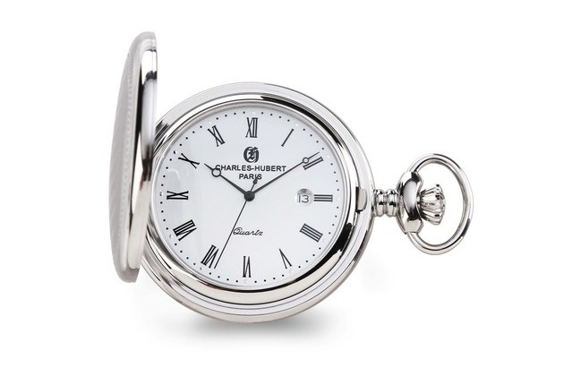 Charles Hubert Stainless Hunter Case w/Shield White Dial Pocket Watch for $128