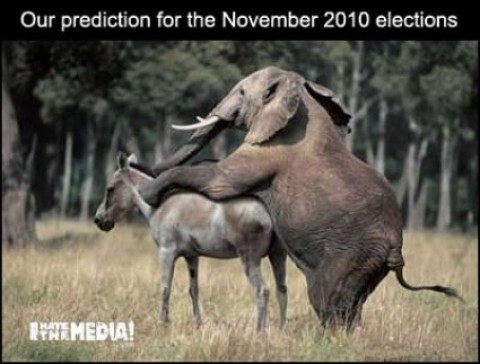election prediction 2010 elephant screws donkey