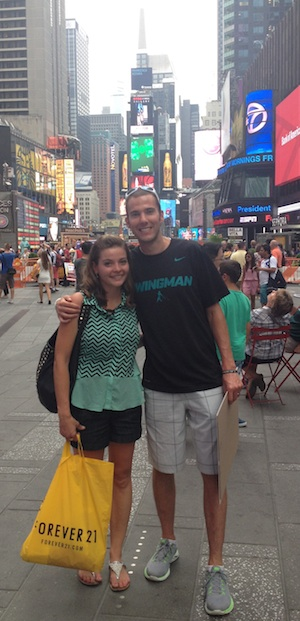 Kyle and his wife in Times Square, NY