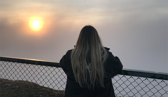Victoria looking at the sunset