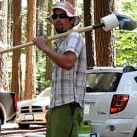 hiking with shovel