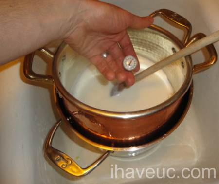 cool yogurt milk after heating it