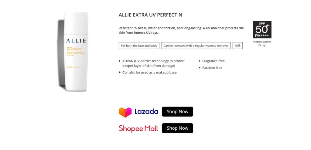 kanebo-allie-ไมโครไซต์ lazada-และ-shopee-mall-stores