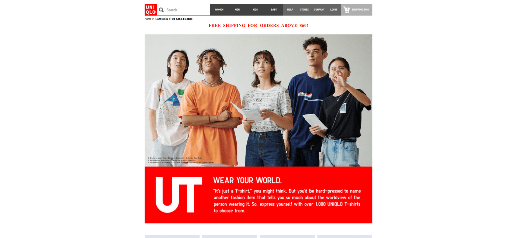 Screen grab of UNIQLO's UT Collection webpage