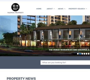 Screen grab of the Yazhou Property Website Homepage - Web Design & Development