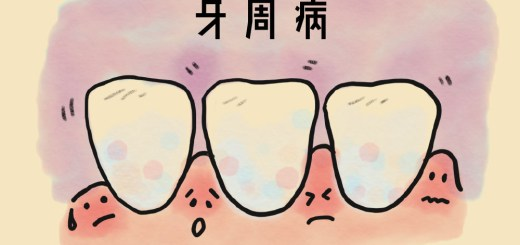 三顆牙齒與四個不同表情的紅腫牙齦示意牙周病