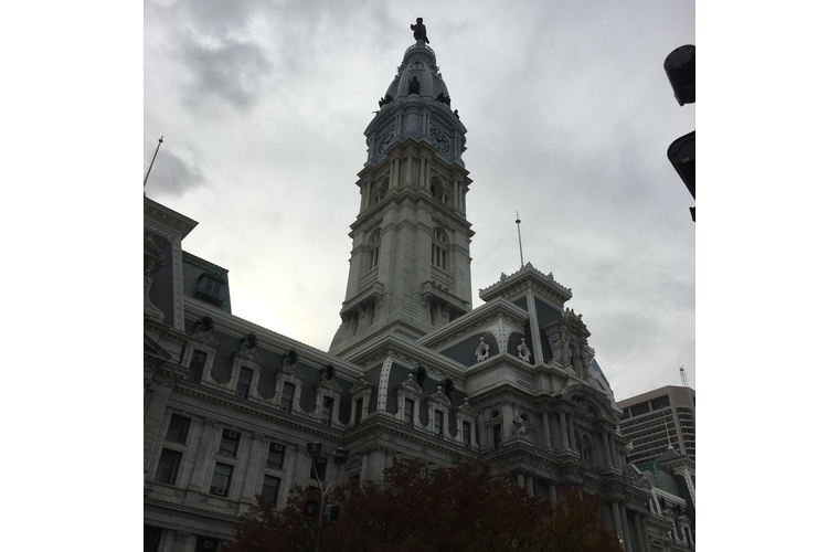 dark and cloudy view of city hall in philadelphia